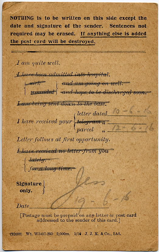 Jesse William Goff's letter home on 19 June 1916