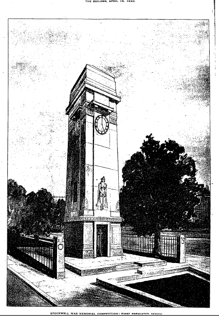 Stockwell War Memorial, illustrated in The Builder, 1920